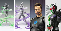 Shinkocchou Kamen Rider W, Tony Stark and Tamashii EFFECT WIND (Green / Violet) are up for pre-order in retail stores!