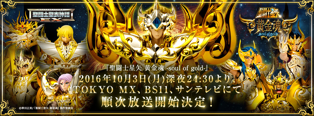 Saint Seiya -soul of gold-. Start of broadcasting decided! Oct.3, 2016 midnight from 24:30 on TOKYO MX, BS11 and Sun-TV in sequence.